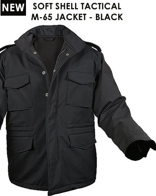 SOFT SHELL TACTICAL M-65 JACKET - BLACK